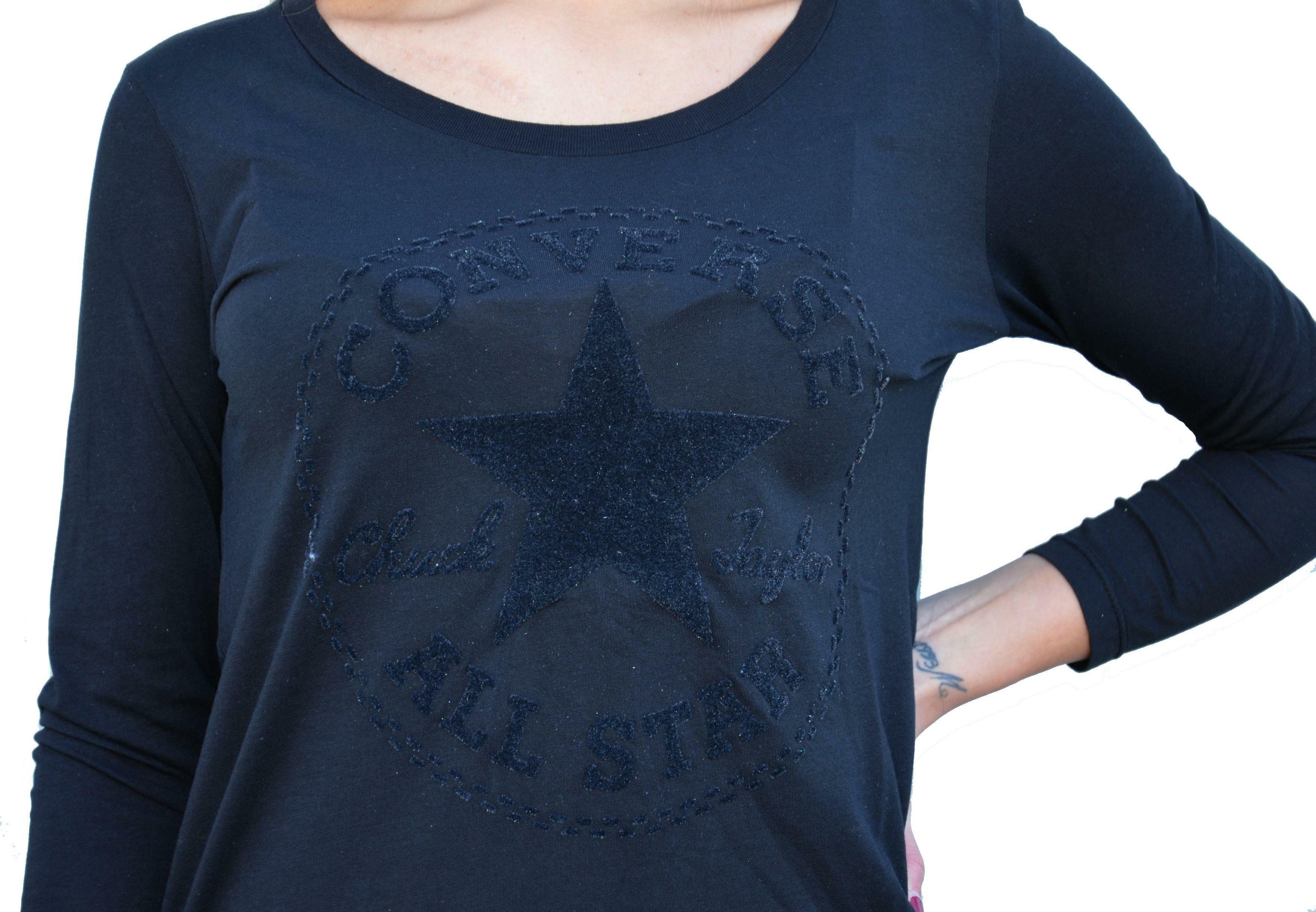 converse converse t-shirt maniche lunghe donna nera