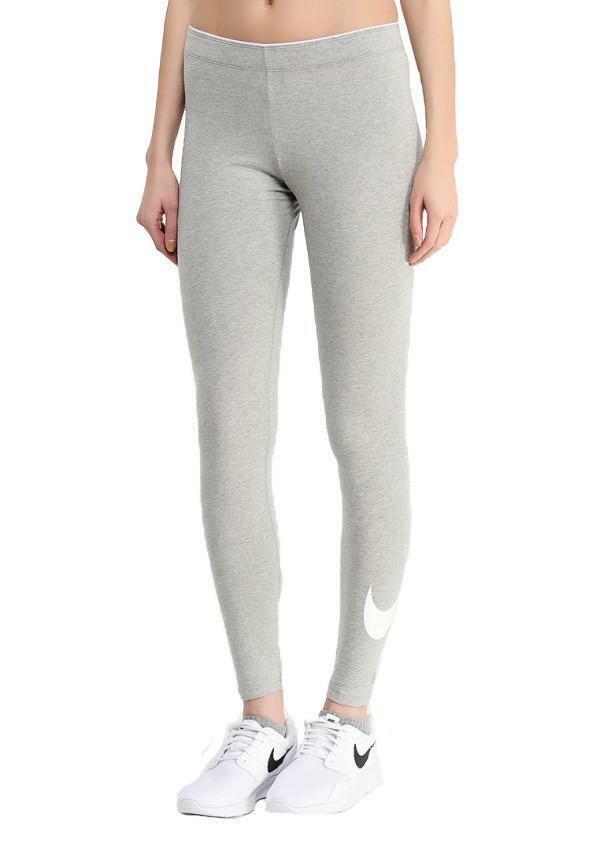 nike nike club logo 2 leggings donna cotone elasticizzato grigio 815997 063