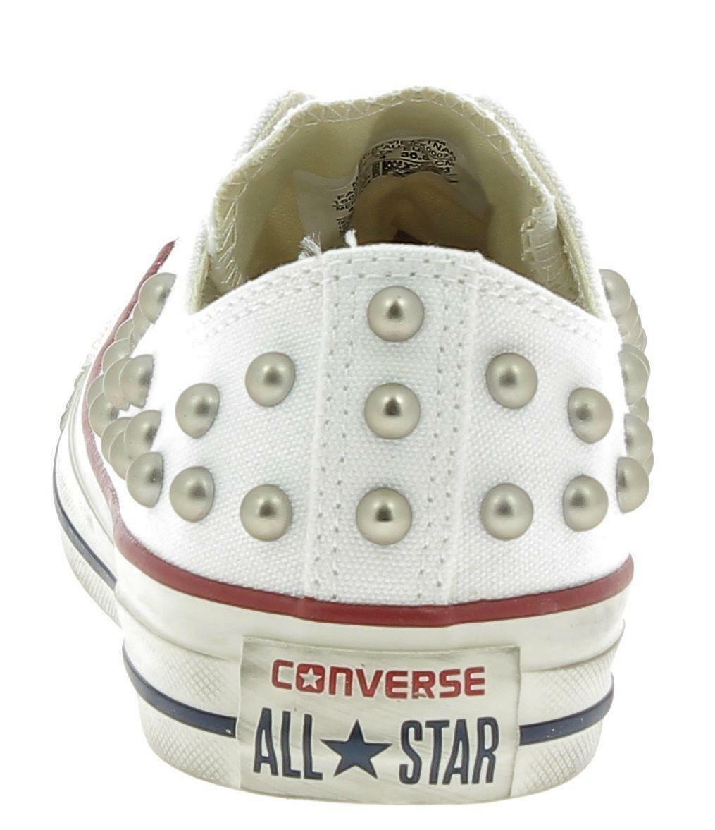 converse converse ctas distressed ox scarpe sportive borchie bianche