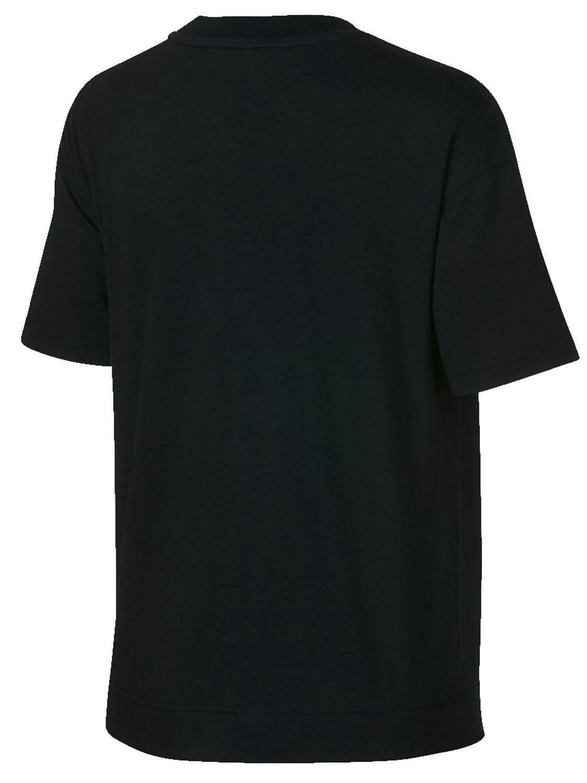 nike nike w nsw crop metallic t-shirt donna nera ah9963010