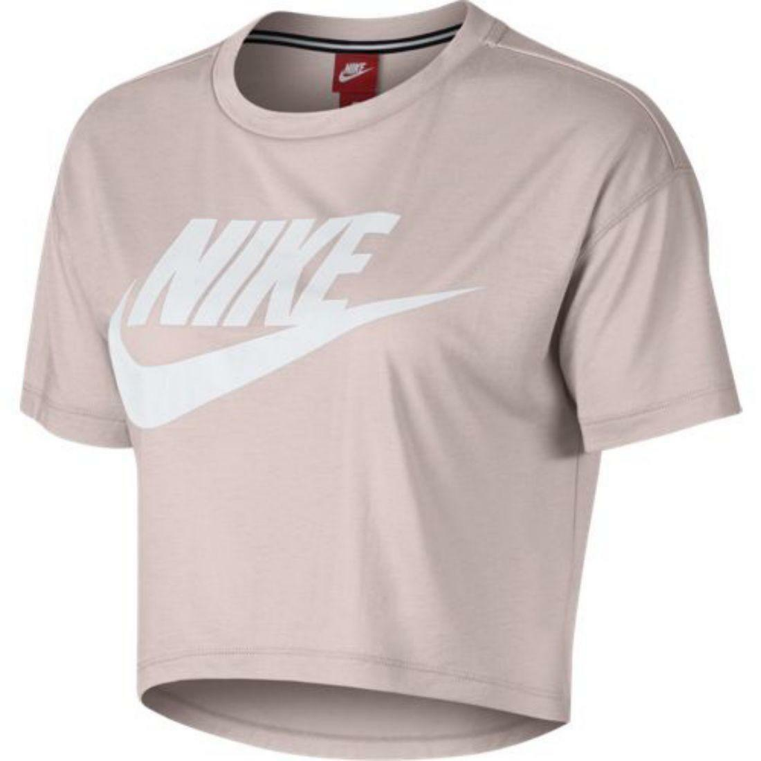 nike nike w nsw essntl crop ss t-shirt donna rosa