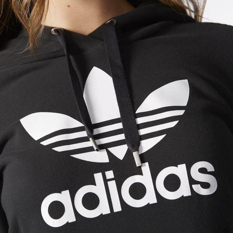 adidas adidas slim hoodie felpa donna cotone garzato nera