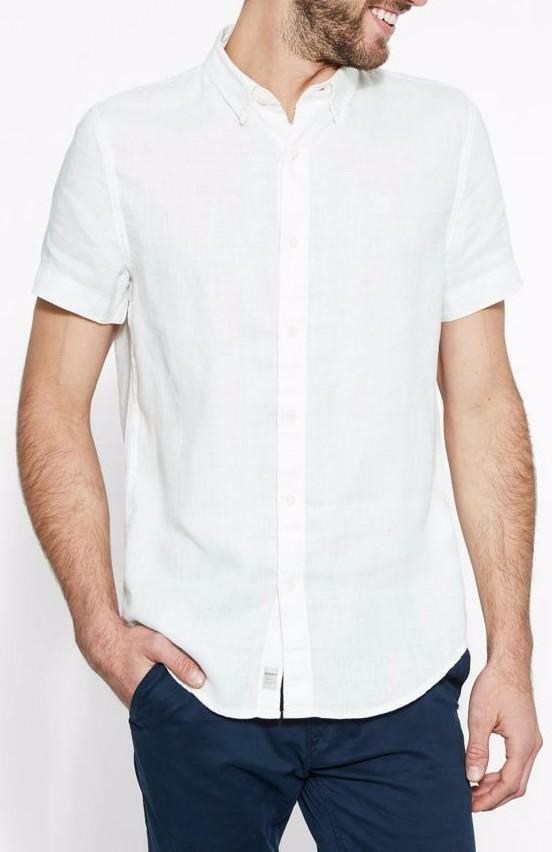 timberland timberland ss linen camicia uomo bianca slim fit