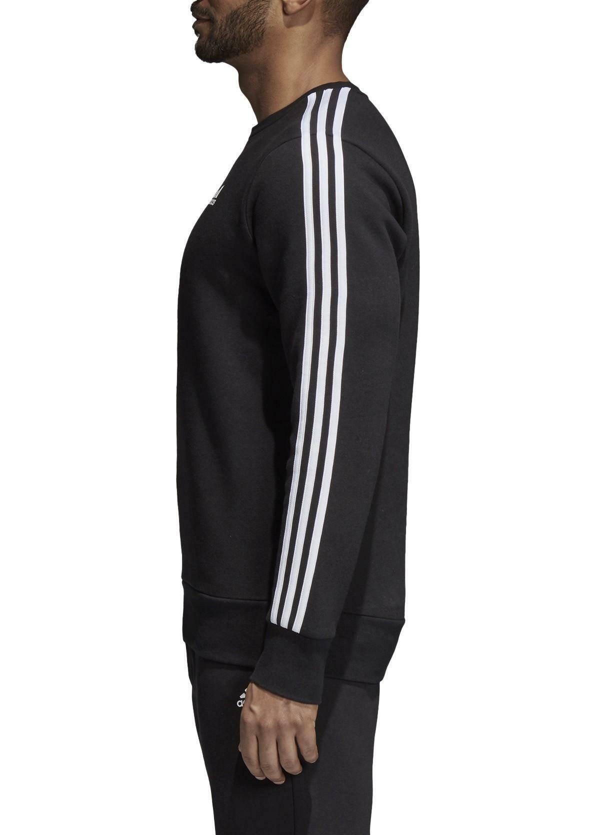 adidas adidas ess 3s crew felpa uomo nera felpata bq9645