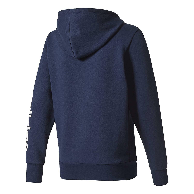 adidas adidas ess lin felpa zip blu uomo cotone felpato bq9639