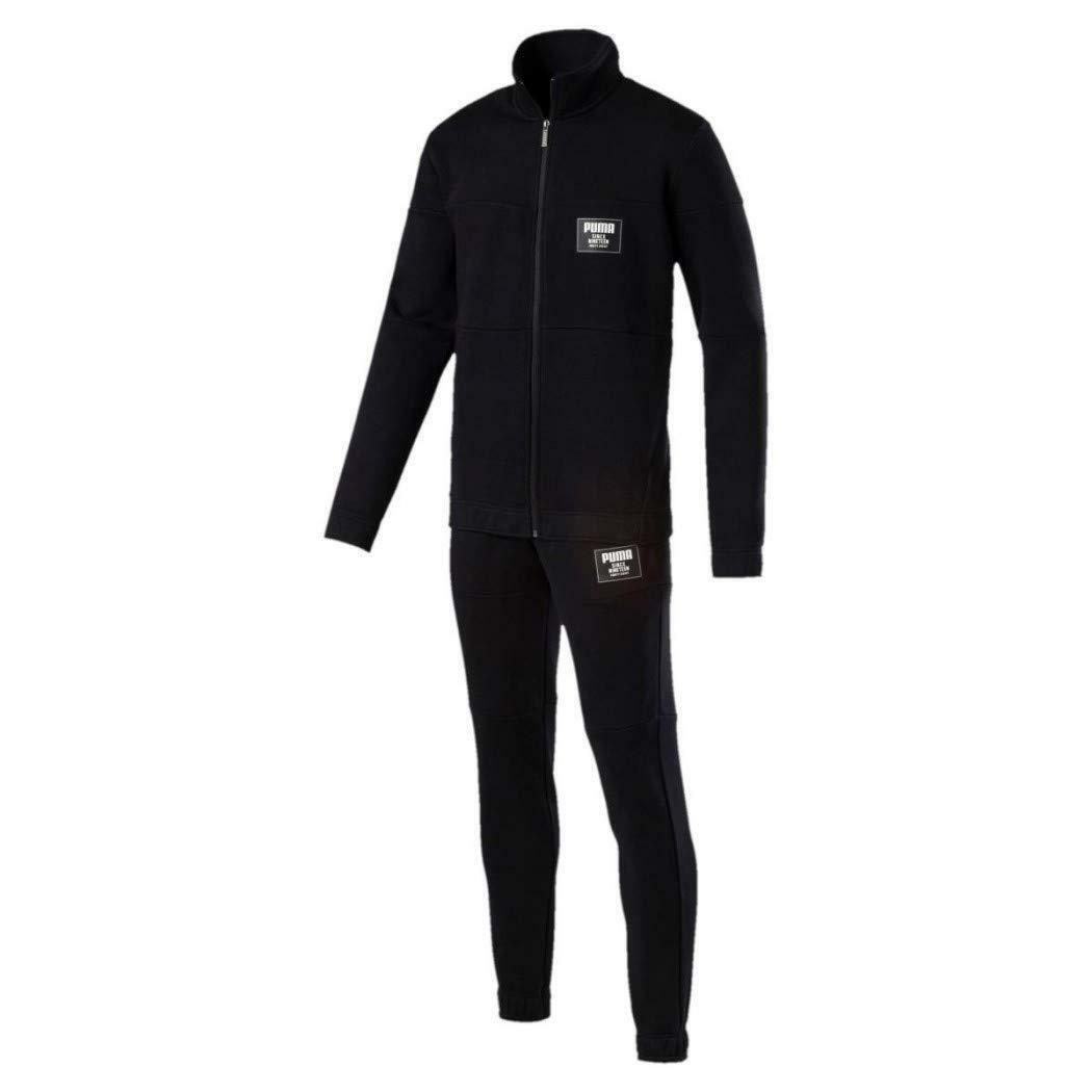 puma puma rebel block sweat suit tuta uomo nera cotone felpato 85156301