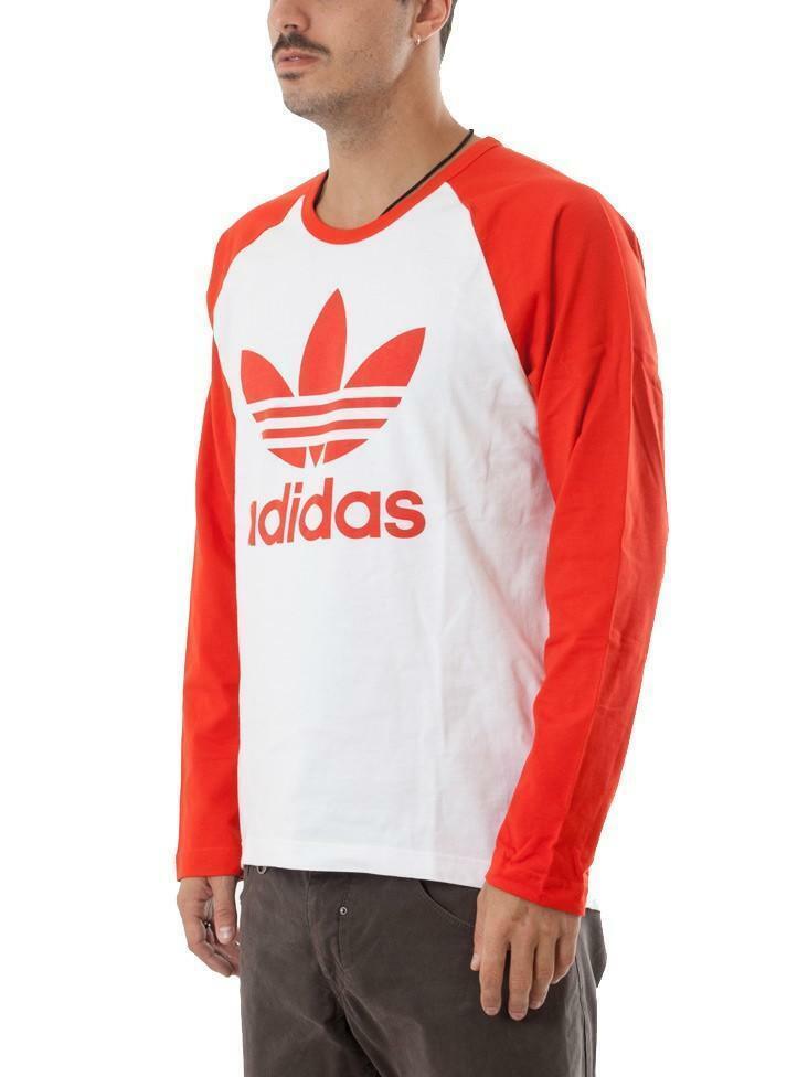 adidas trefoil ls tee maglia uomo rossa bk7623