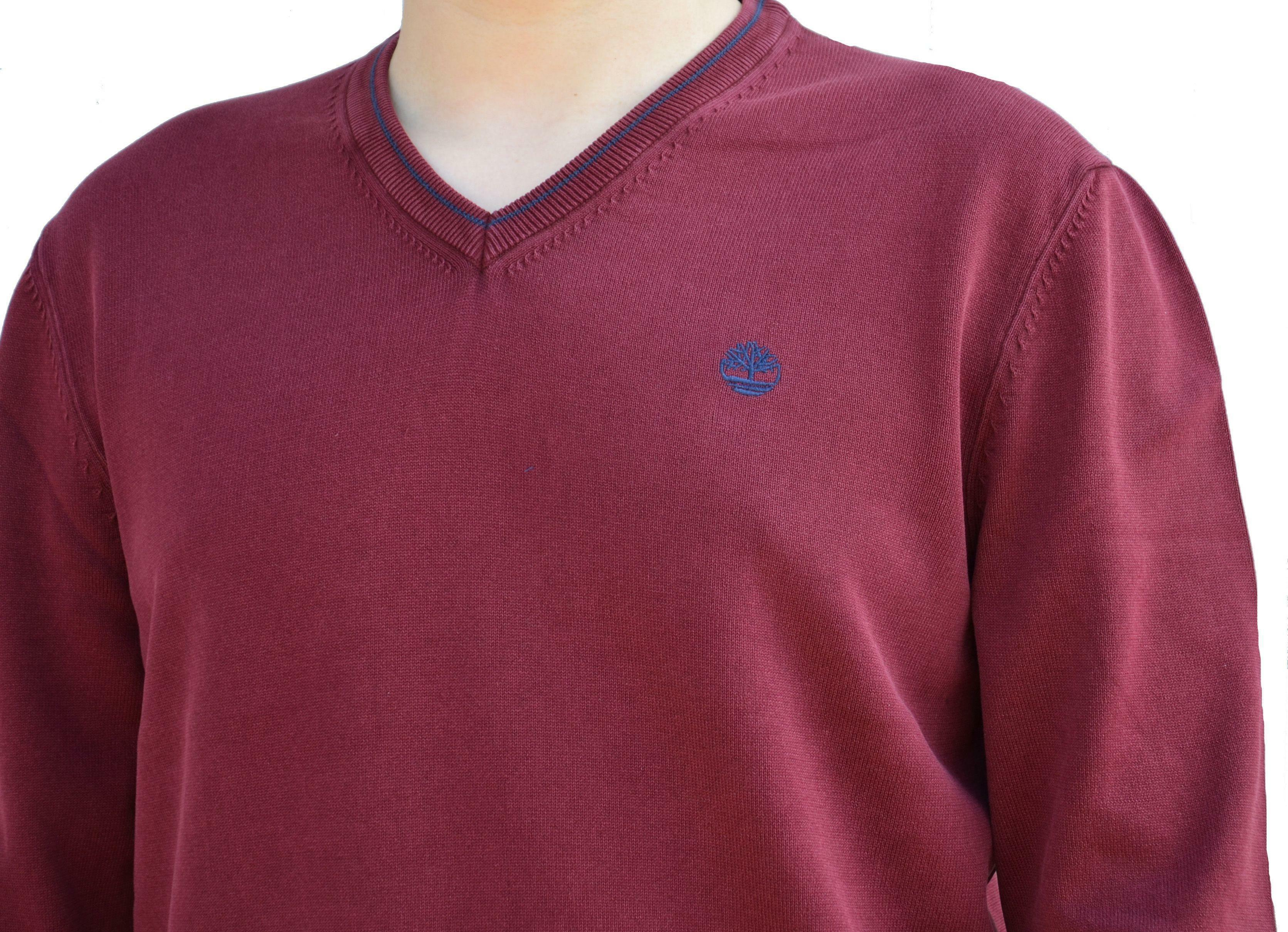 timberland timberland long point jumper maglioncino collo v uomo rosso