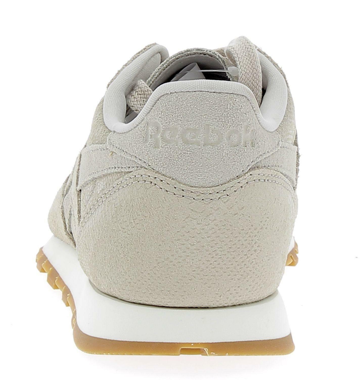 reebok reebok cl lthr clean exotics scarpe sportive donna beige pitonate