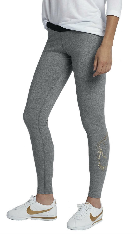 nike nike w nsw metallic leggings donna grigi