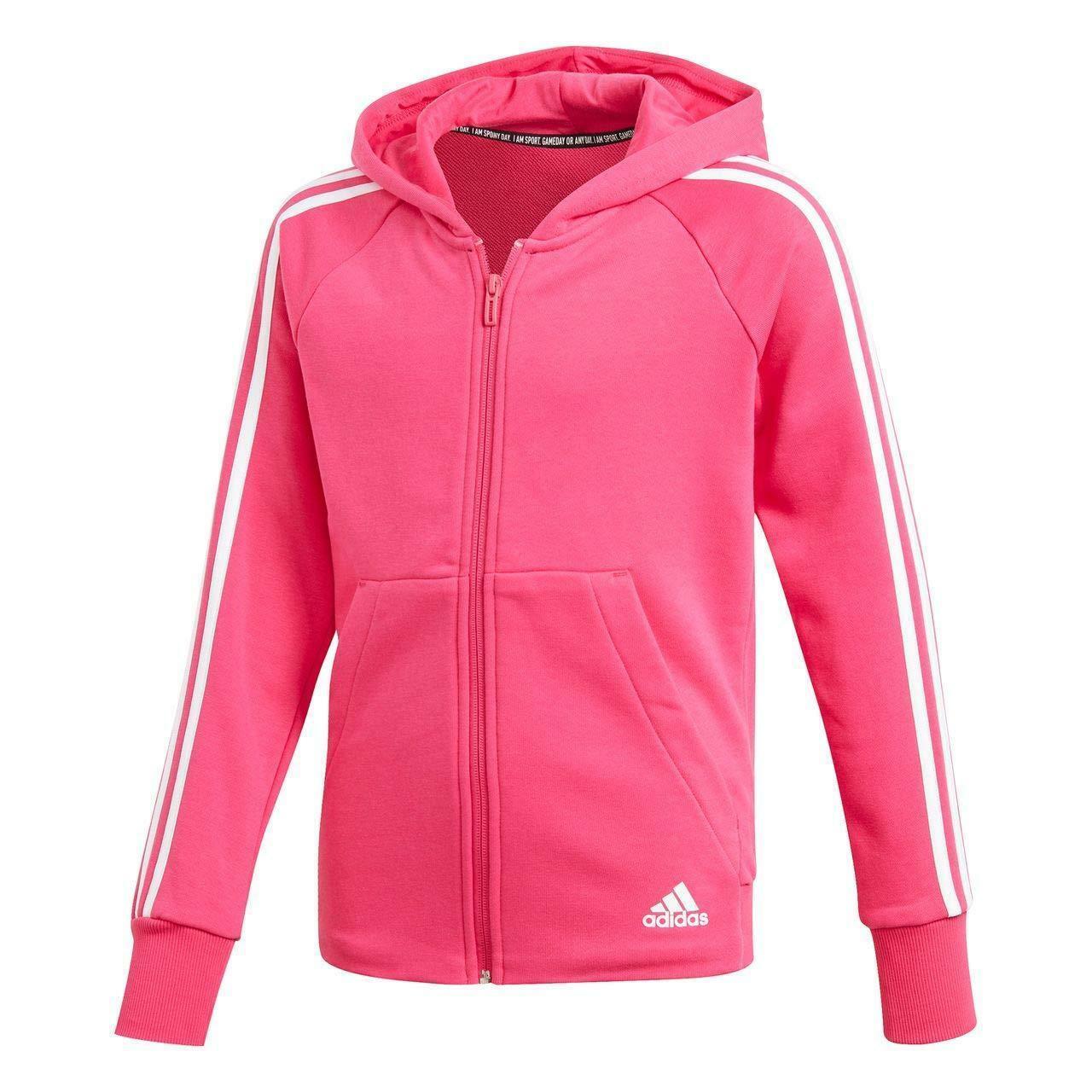 adidas yg mh 3 stripes giacchetto cappuccio bambina fucsia dx2456
