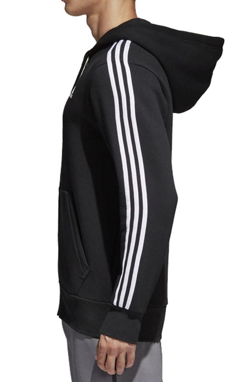 adidas adidas 3 stripes felpa zip cotone felpato uomo nera b47368