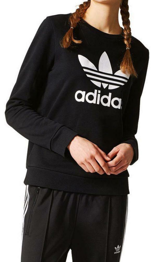 adidas adidas crew sweater felpa donna nera
