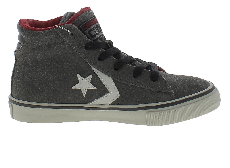 converse junior scarpe sneakers pro leather bambino grigio grey alte