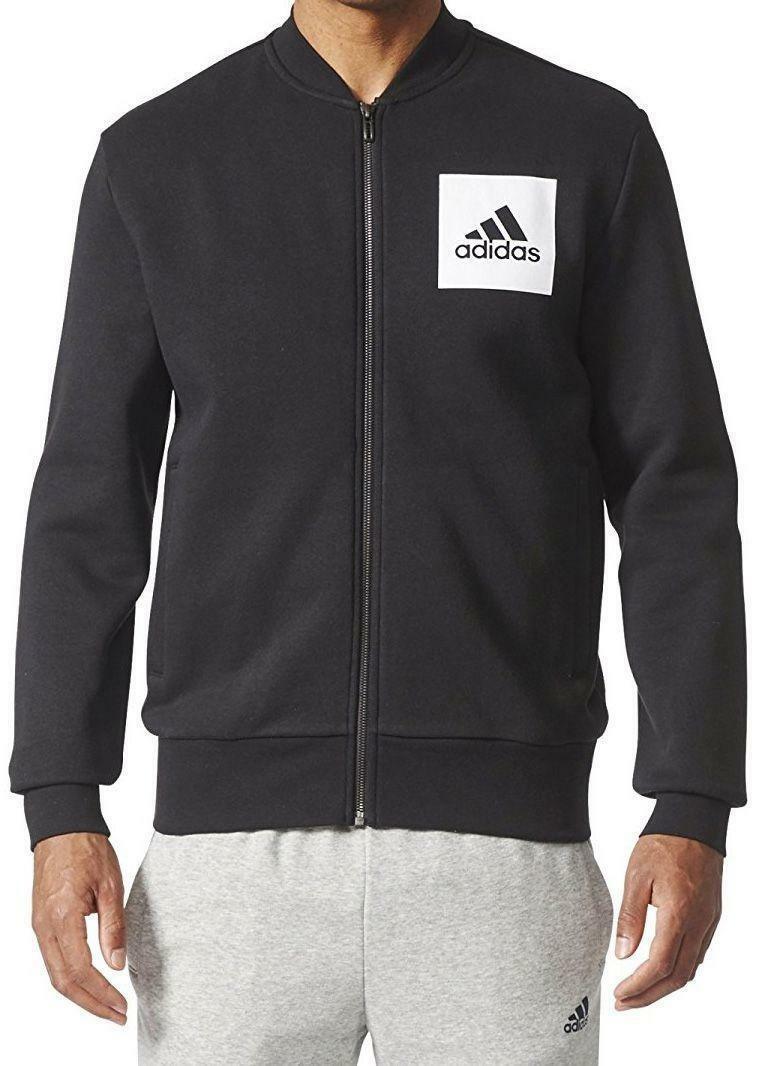adidas adidas bomber giacchetto felpato uomo nero bq9631