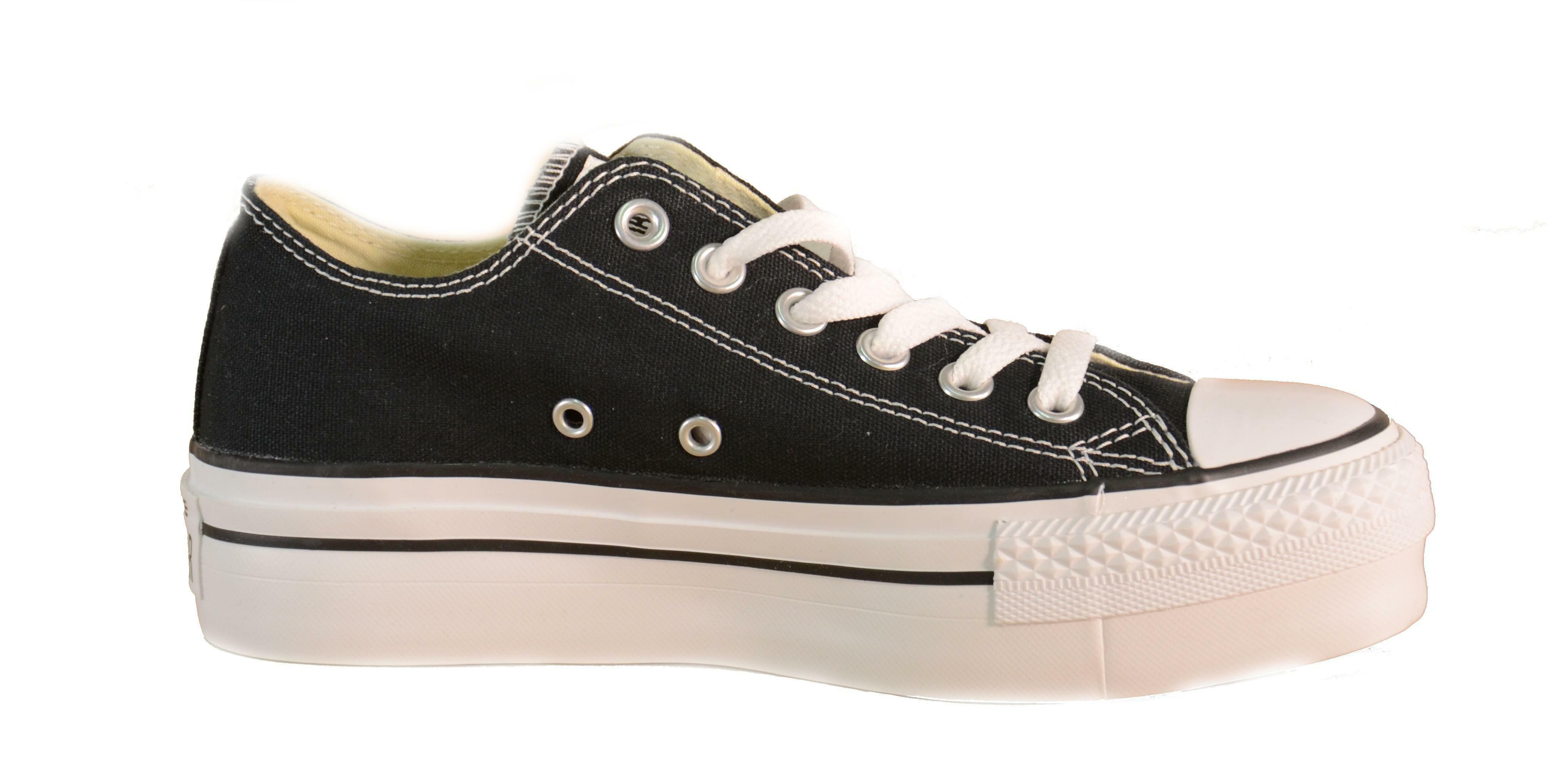 converse converse all star ct platform ox scarpe sportive donna nere tela lacci 540266c
