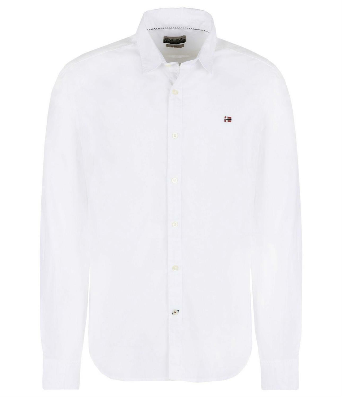 napapijri napapijri gelen camicia uomo bianca cotone elasticizzato
