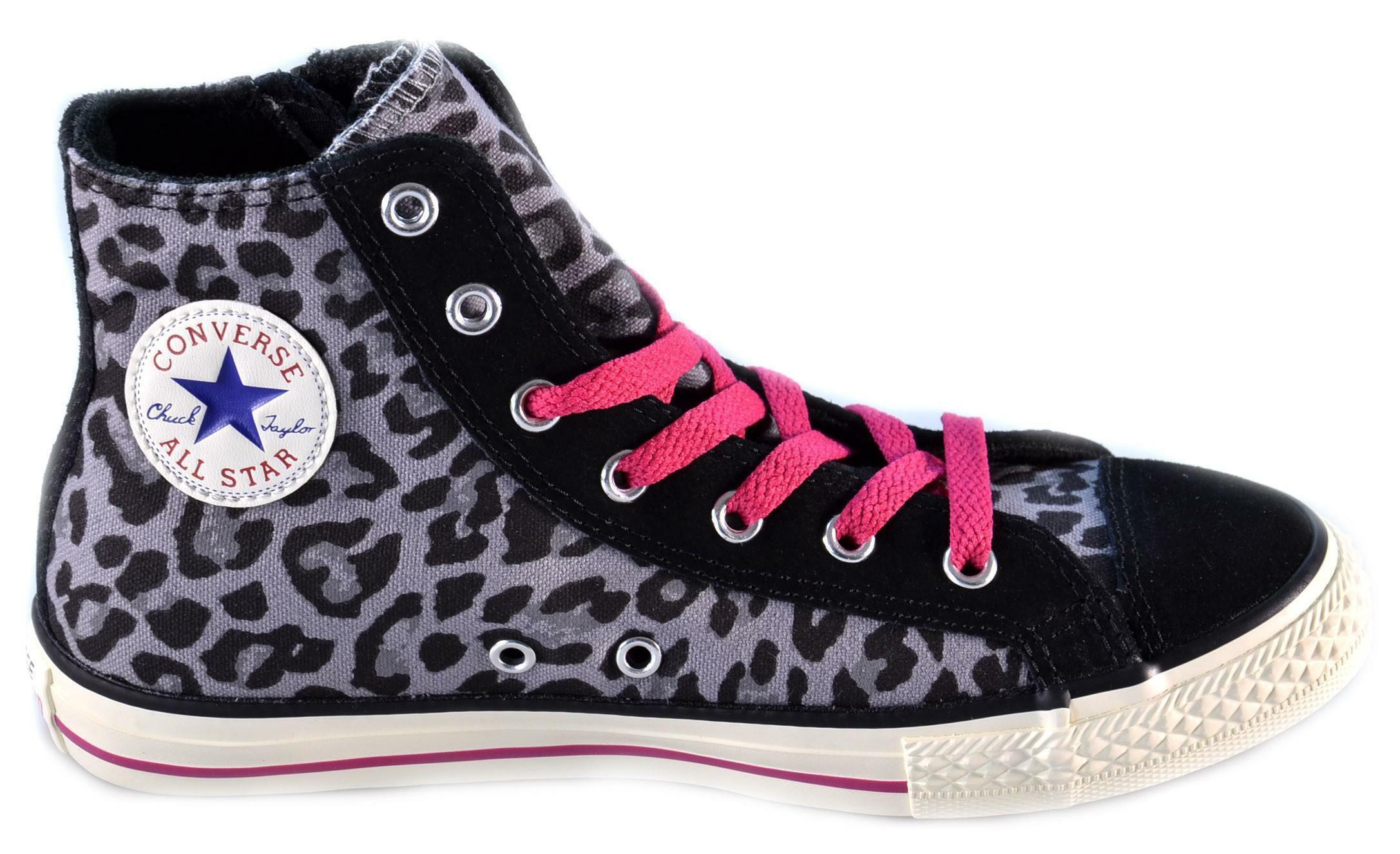 converse converse all star ct side zip hi charcoal scarpe donna bambina leopardate 646202