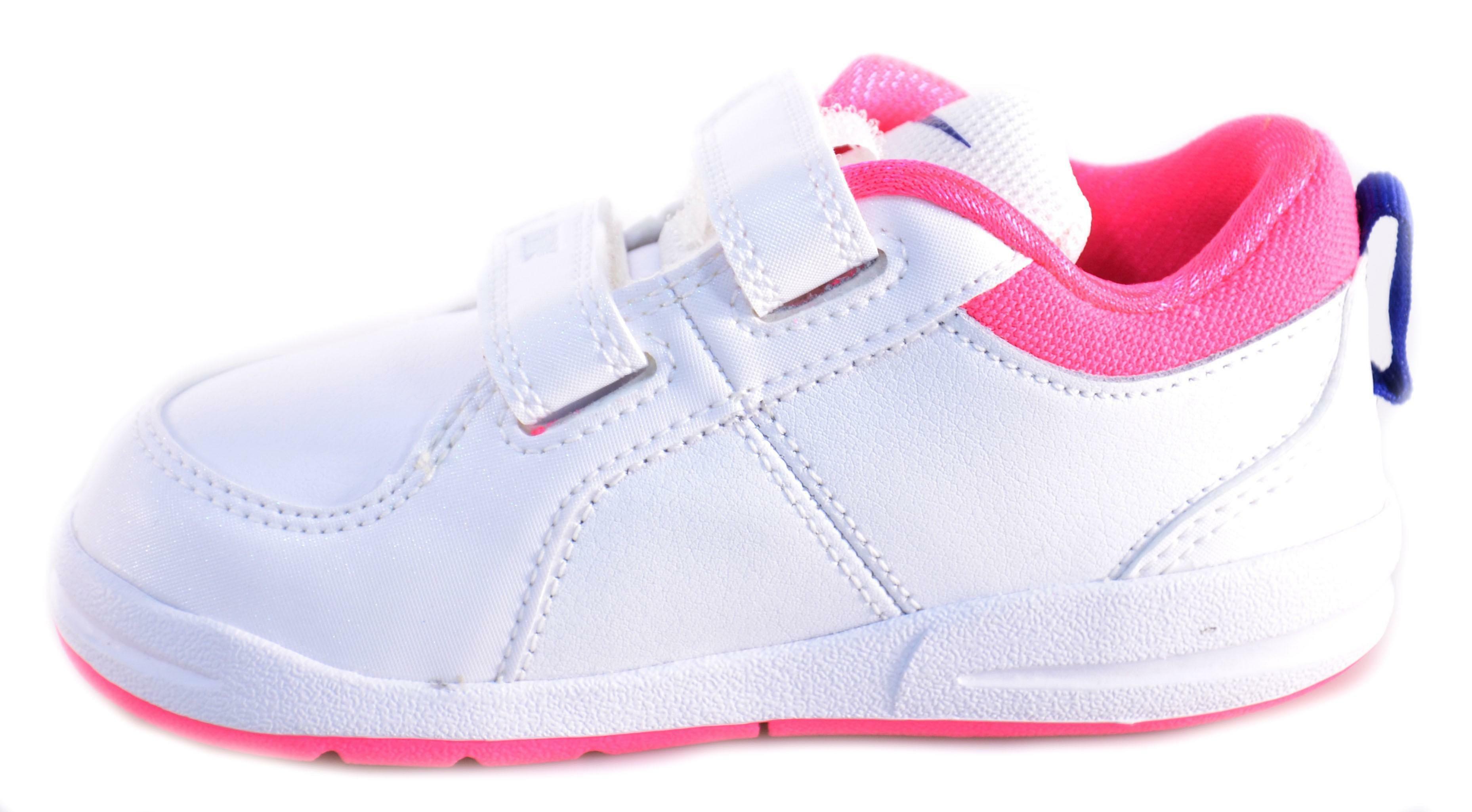 nike nike pico 4 (psv) scarpe bambina bianche blu rosa pelle velcro 454477
