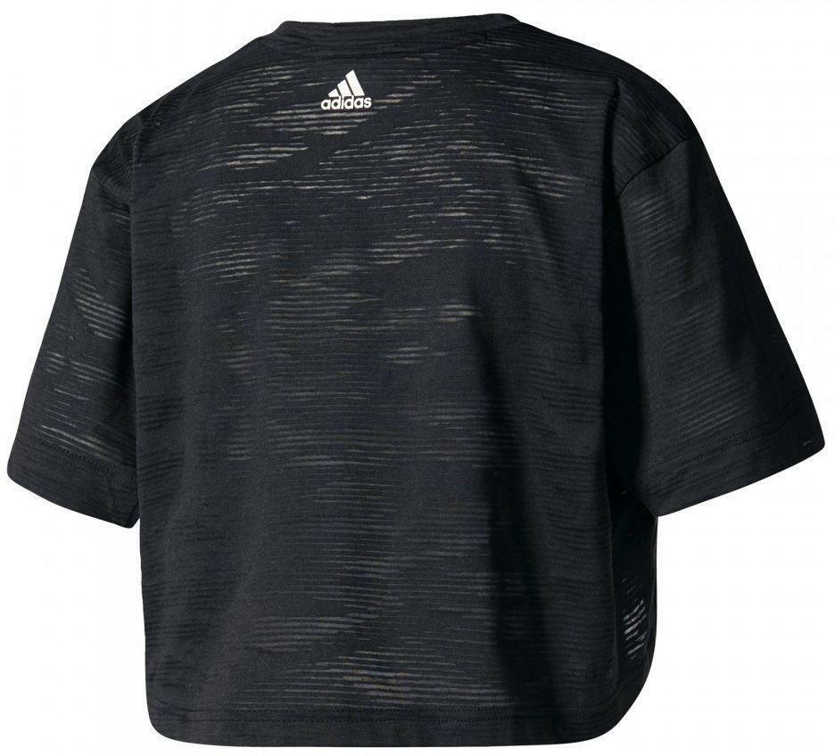 adidas adidas aeroknit crop t-shirt donna nera