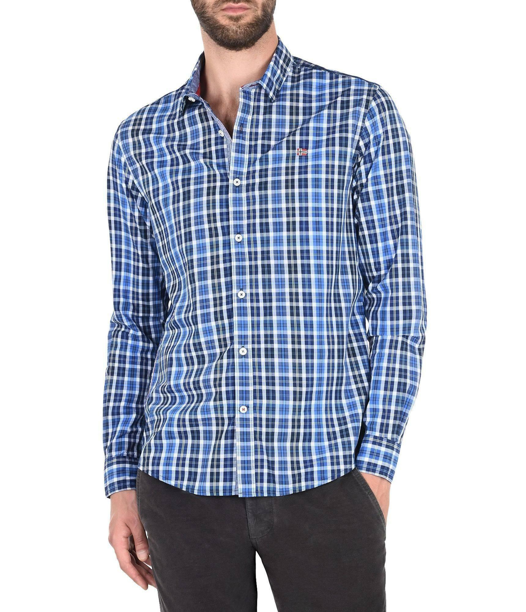 napapijri napapijri glockner camicia uomo a quadretti blu
