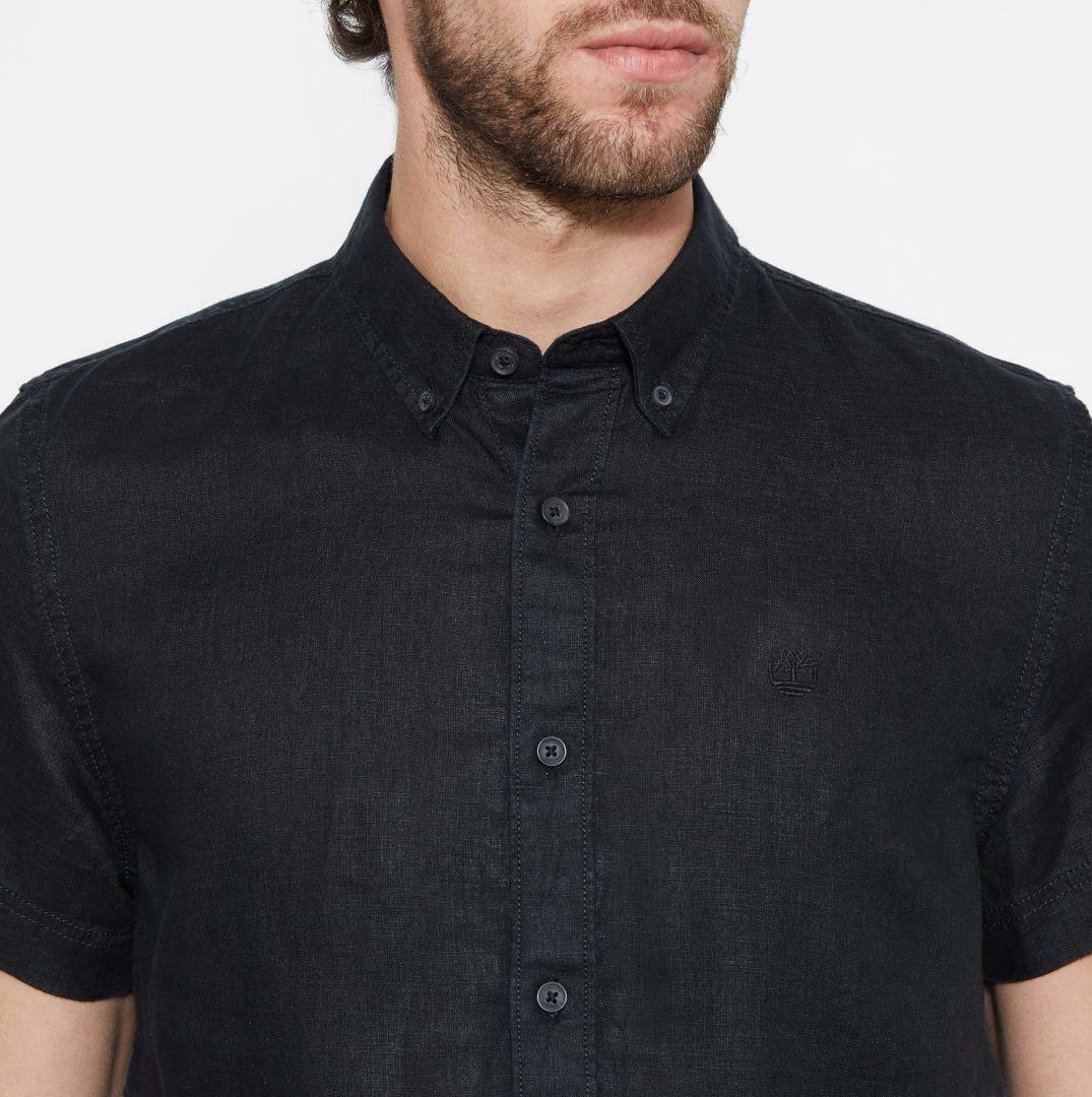 timberland timberland ss linen camicia uomo nera slim fit