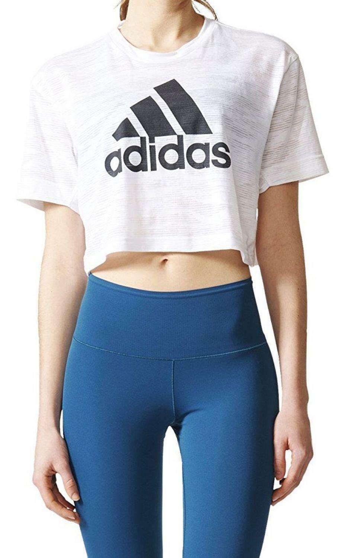 adidas adidas aeroknit crop t-shirt donna bianca bq5788