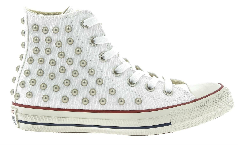 converse converse ctas distressed hi scarpe sportive borchie bianche