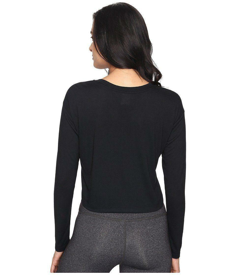 nike nike w nsw essntl crop t-shirt maniche lunghe donna nera