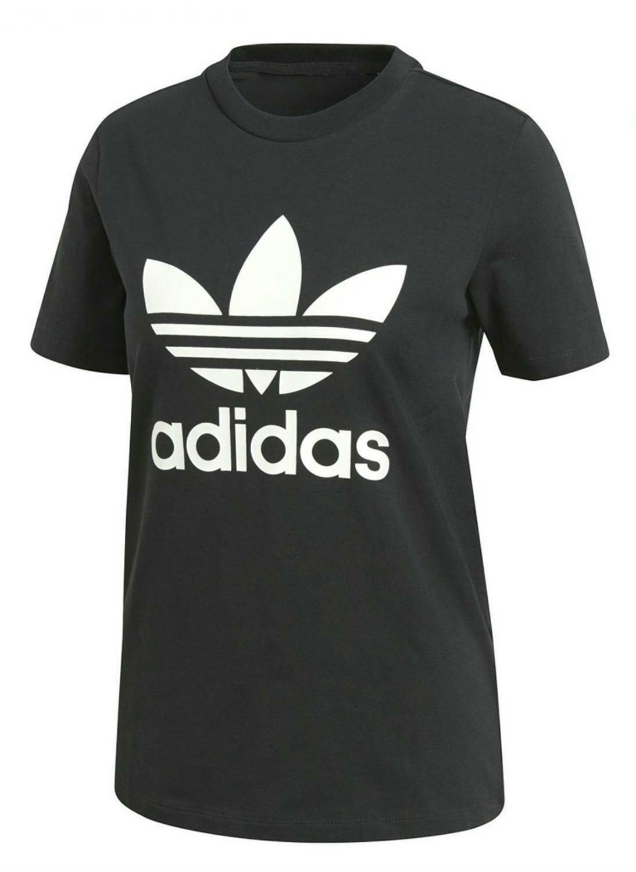 adidas adidas originals trefoil tee t-shirt donna nera