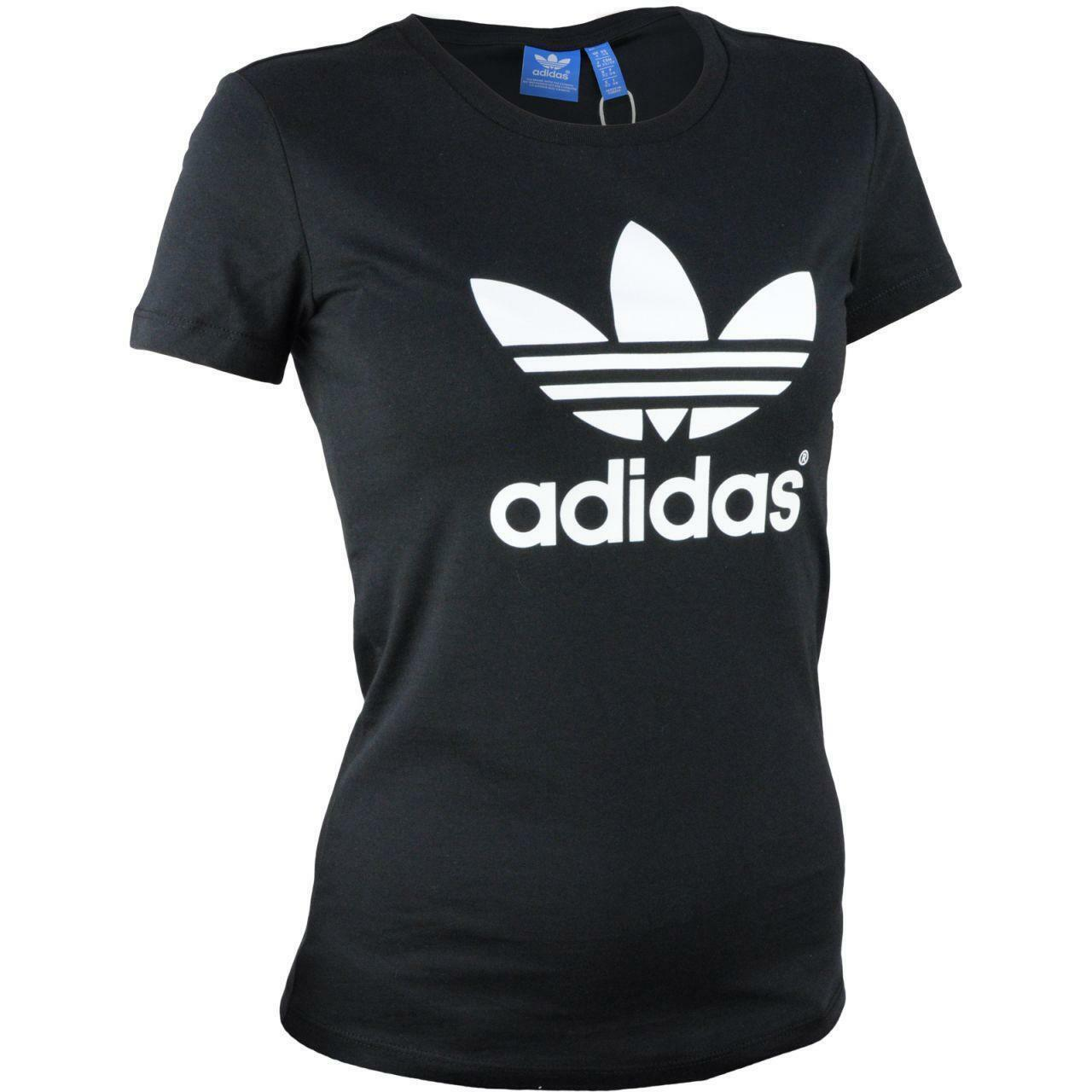 adidas adidas trefoil t-shirt donna nera 100% cotone aj8084