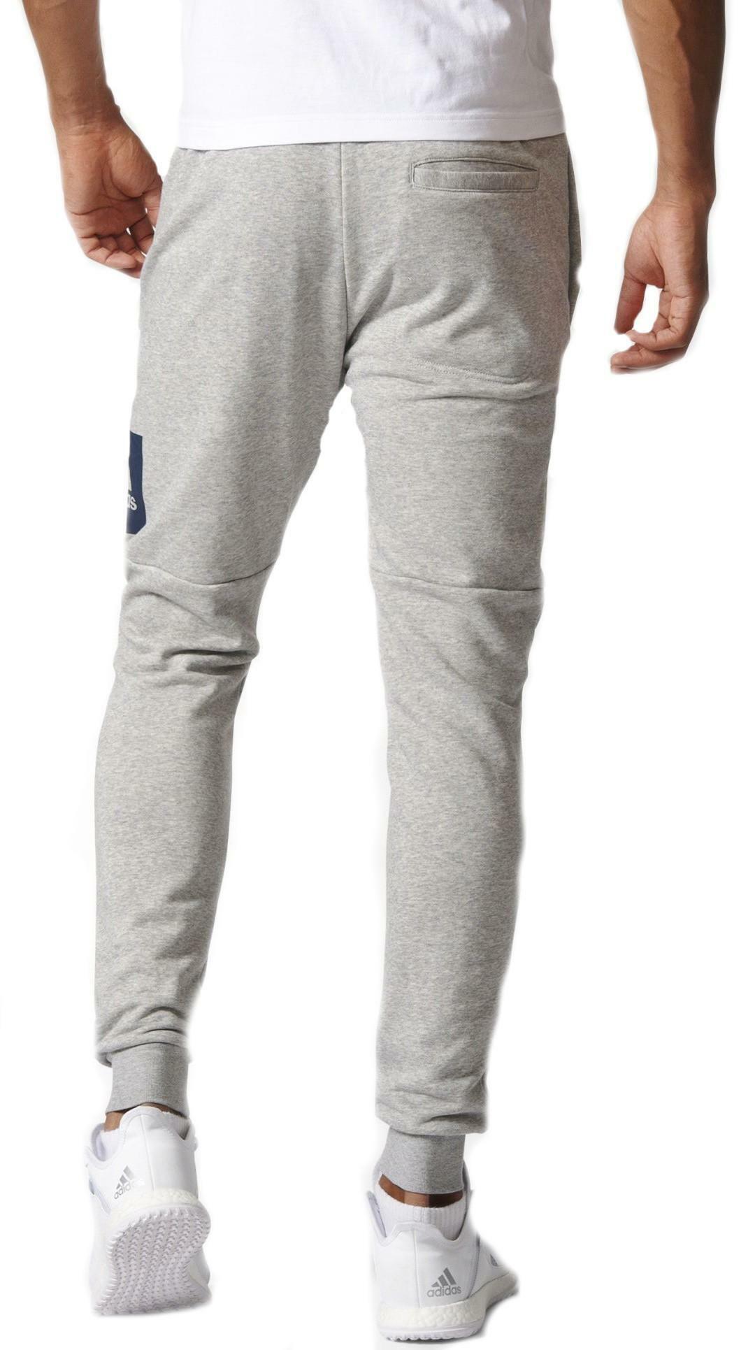 adidas adidas ess bl s pantaloni tuta uomo cotone garzato grigi