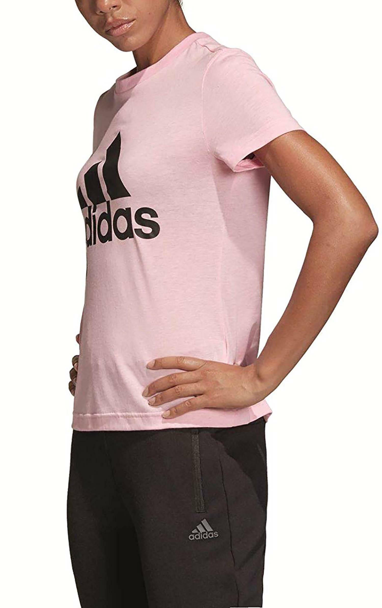 adidas w mh bos tee t-shirt donna rosa dz0014