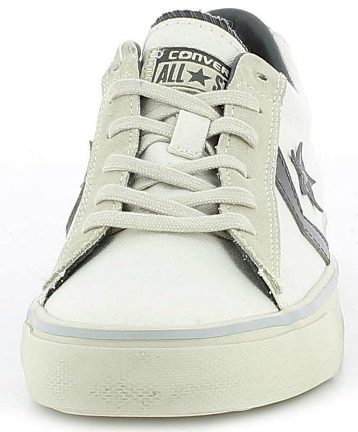converse converse pro leather vulc distressed scarpe tela bianche