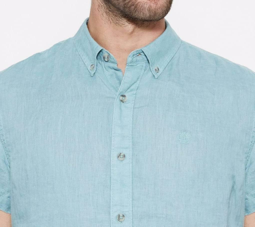 timberland timberland ss linen camicia uomo celeste slim fit 100% lino