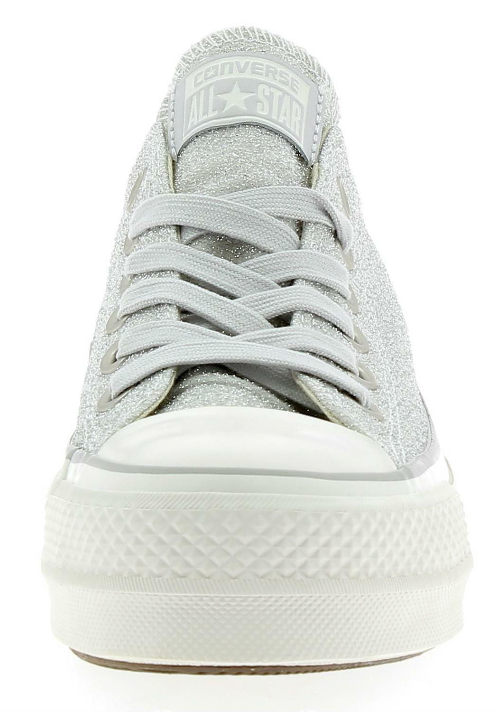 converse converse ctas clean lift ox platform scarpe sportive donna glitter argento