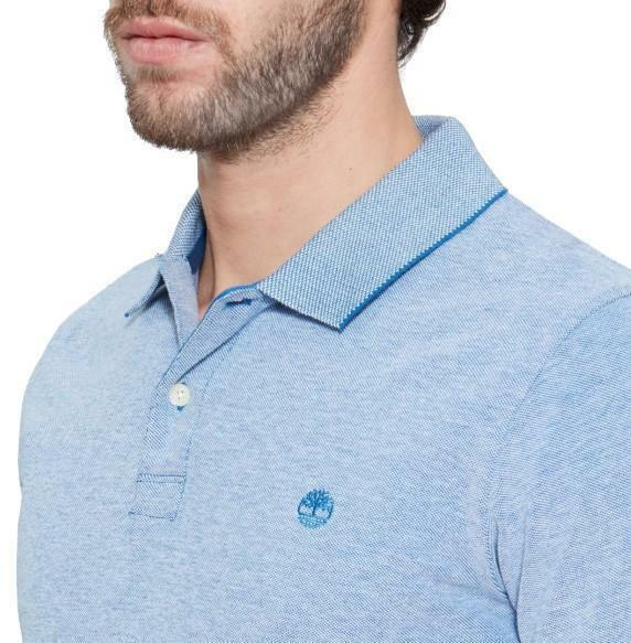 timberland timberland ss solid oxford piquet polo uomo blu