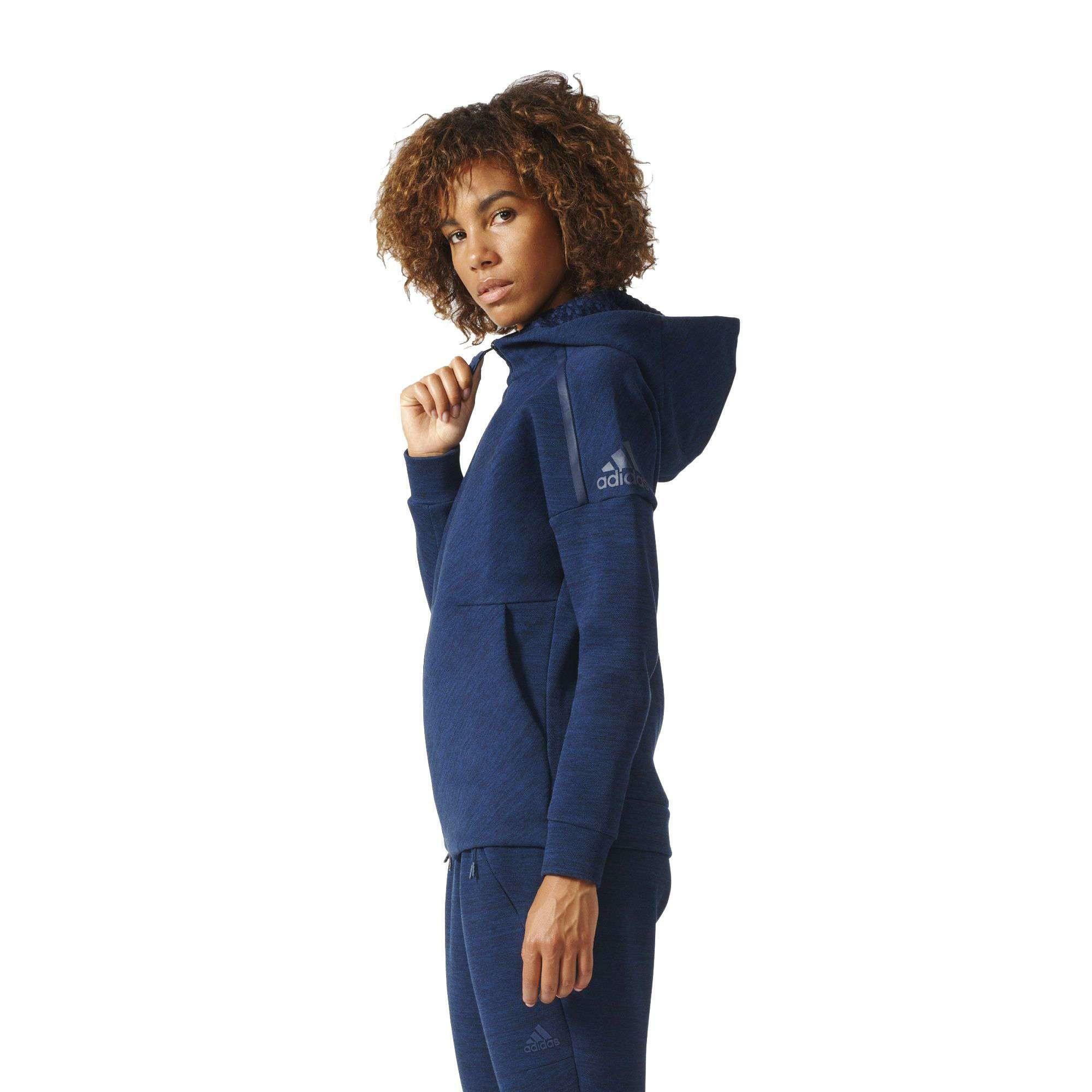 adidas adidas z.n.e roadtr hood felpa zip donna blu