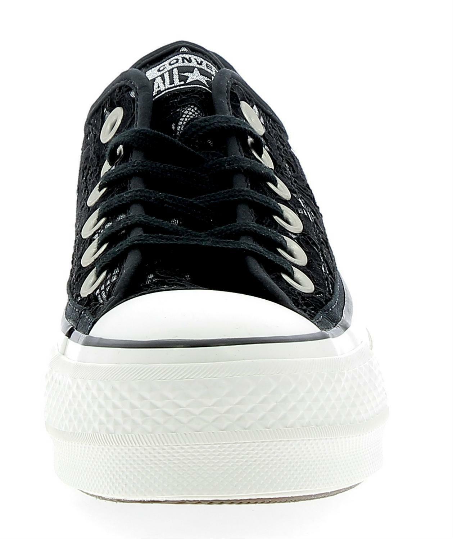 converse converse ctas clean lift ox platform scarpe sportive donna nere pizzo