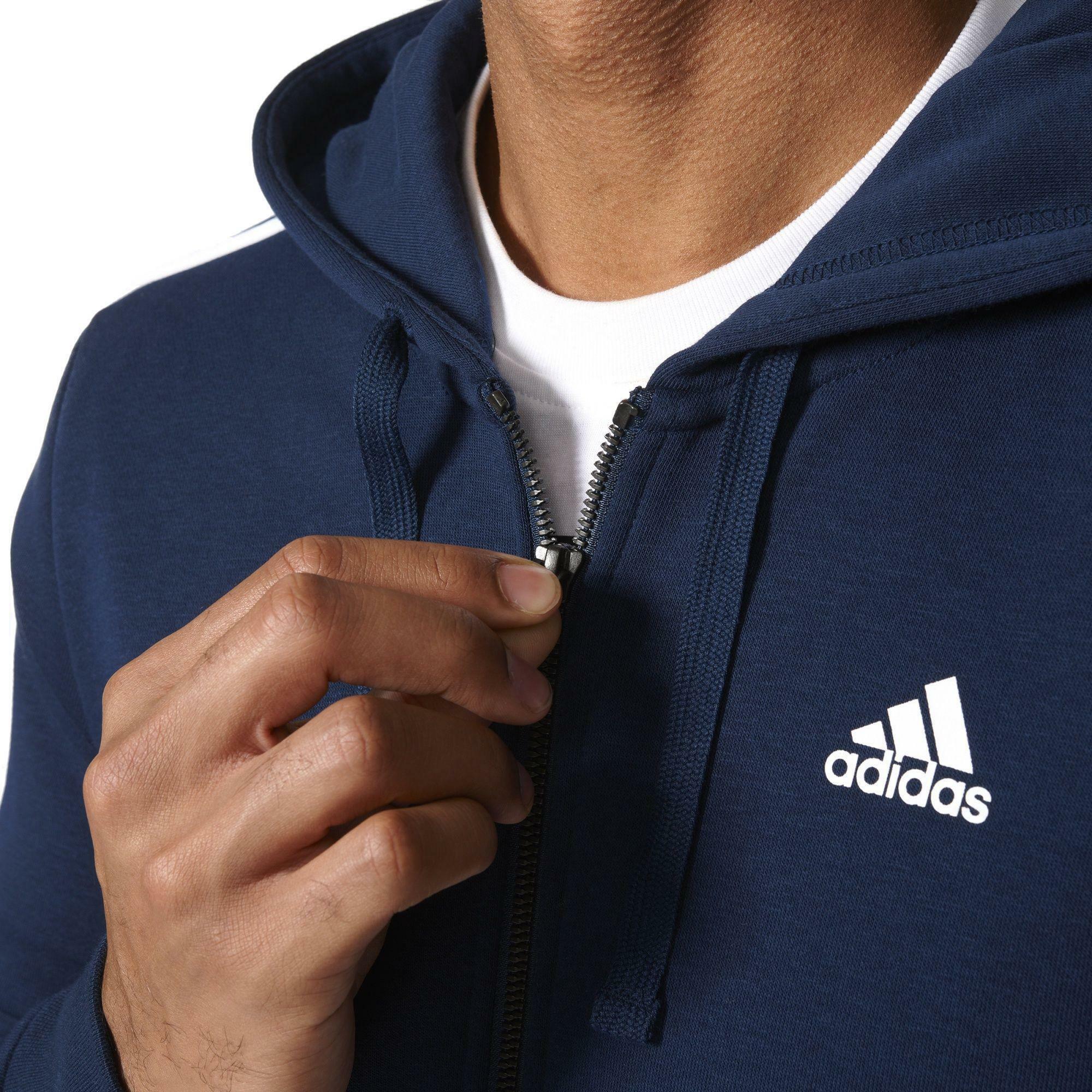 adidas adidas ess 3s fz ft giacchetto uomo blu s98787