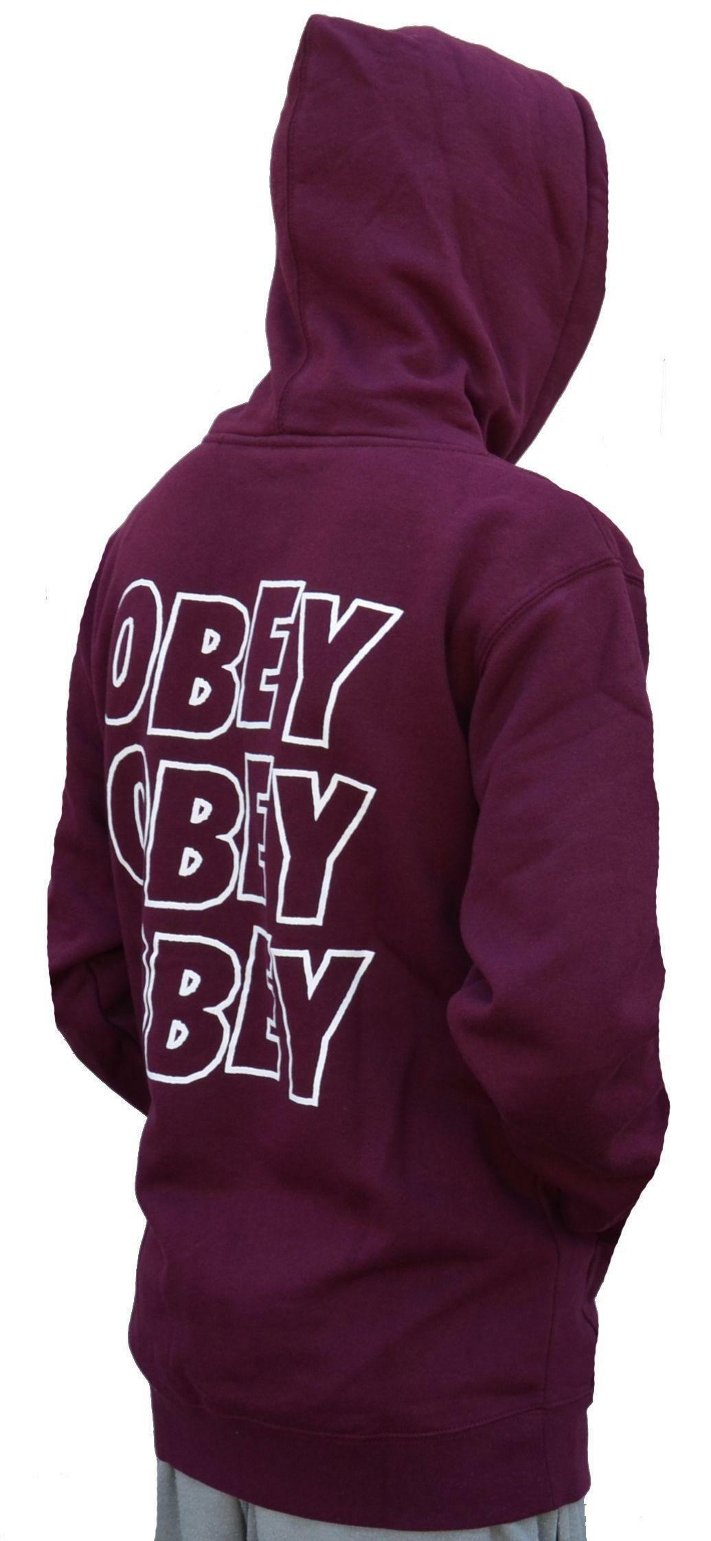 obey obey lo-fi po fleece felpa uomo bordeaux