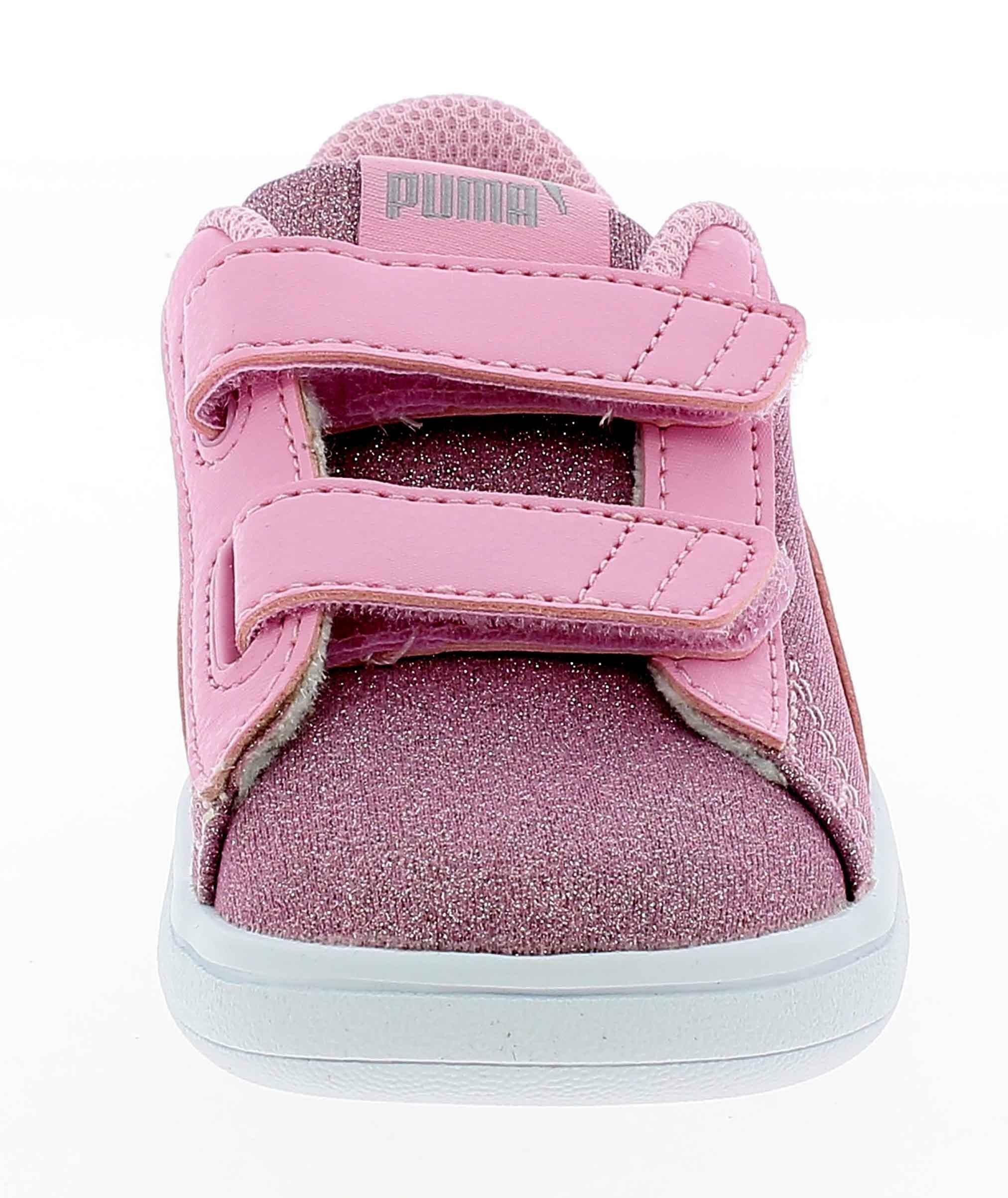puma smash v2 scarpe sportive strappi bambina rosa glitterata 36738012
