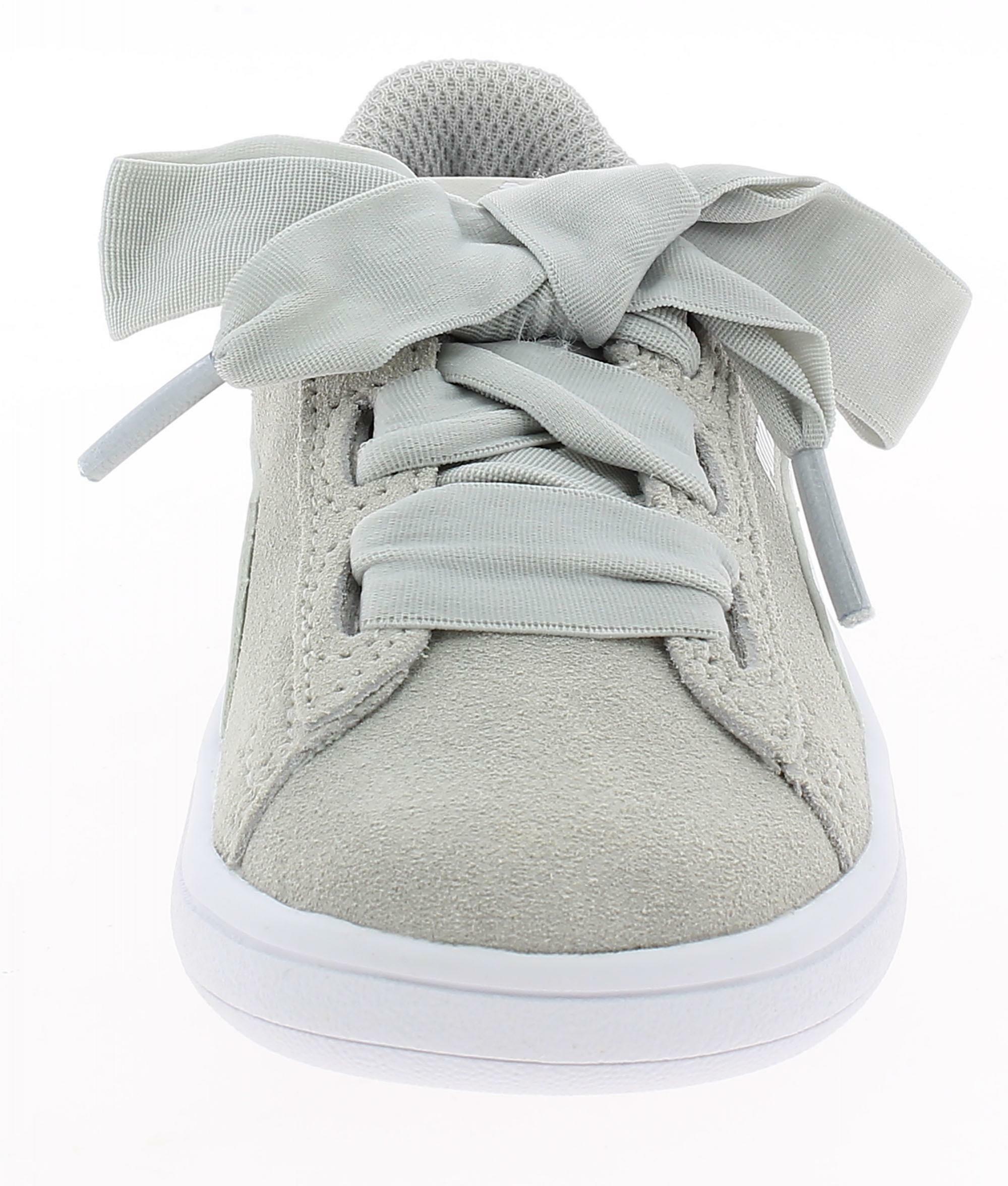 puma smash v2 ribbon scarpe sportive bambina grigie 36600509