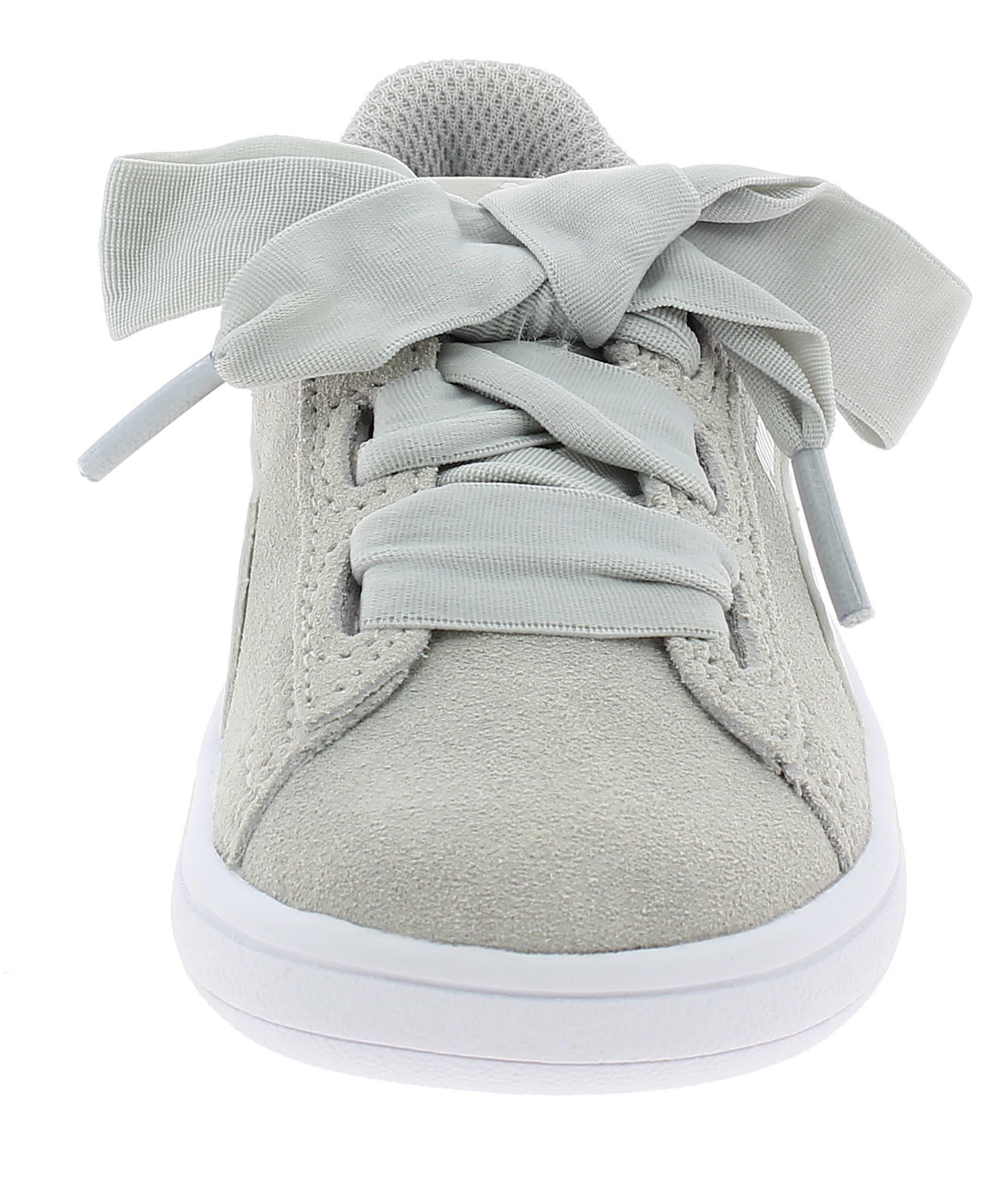 puma smash v2 ribbon ac ps scarpe sportive bambina grigie 36600409