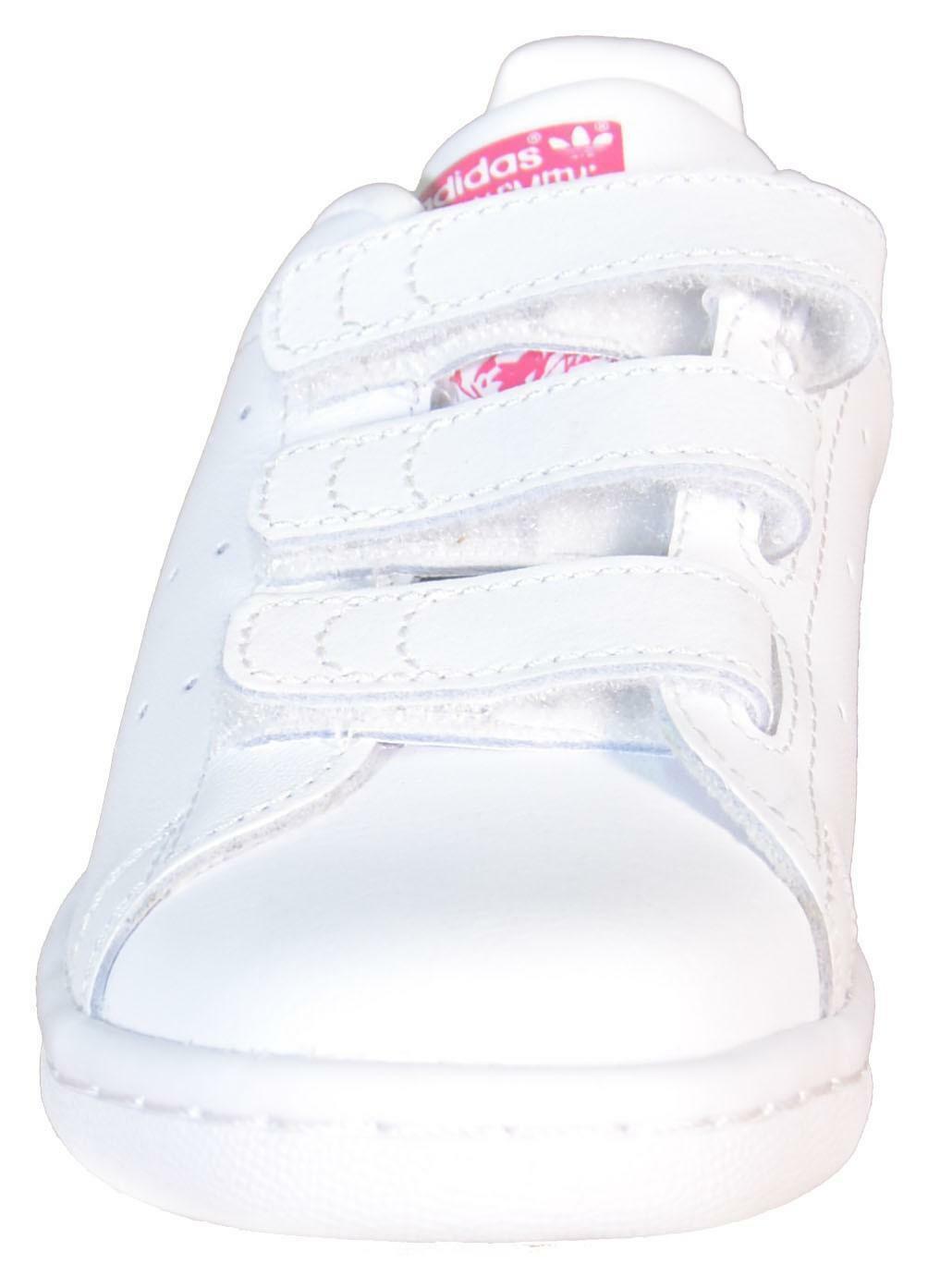 adidas stan smith cf c scarpe sportive bambina bianche pelle strappi b32706