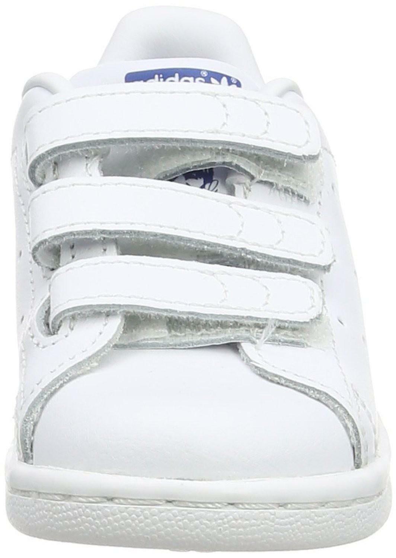 adidas adidas stan smith scarpe bambino bianche blu pelle strappi s74782