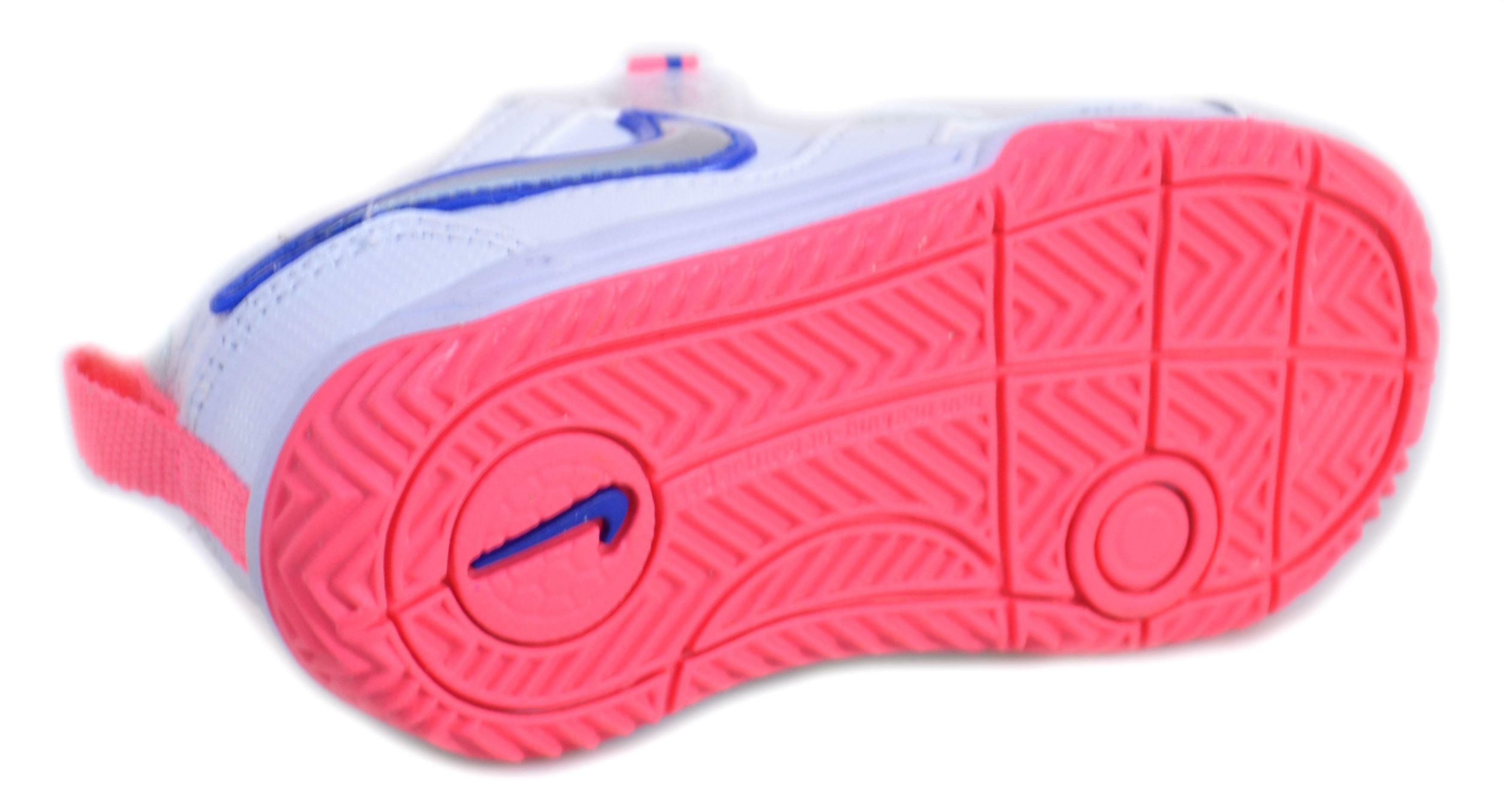 nike nike lykin 11 (tdv) scarpe bambina bianche pelle strappi 454376