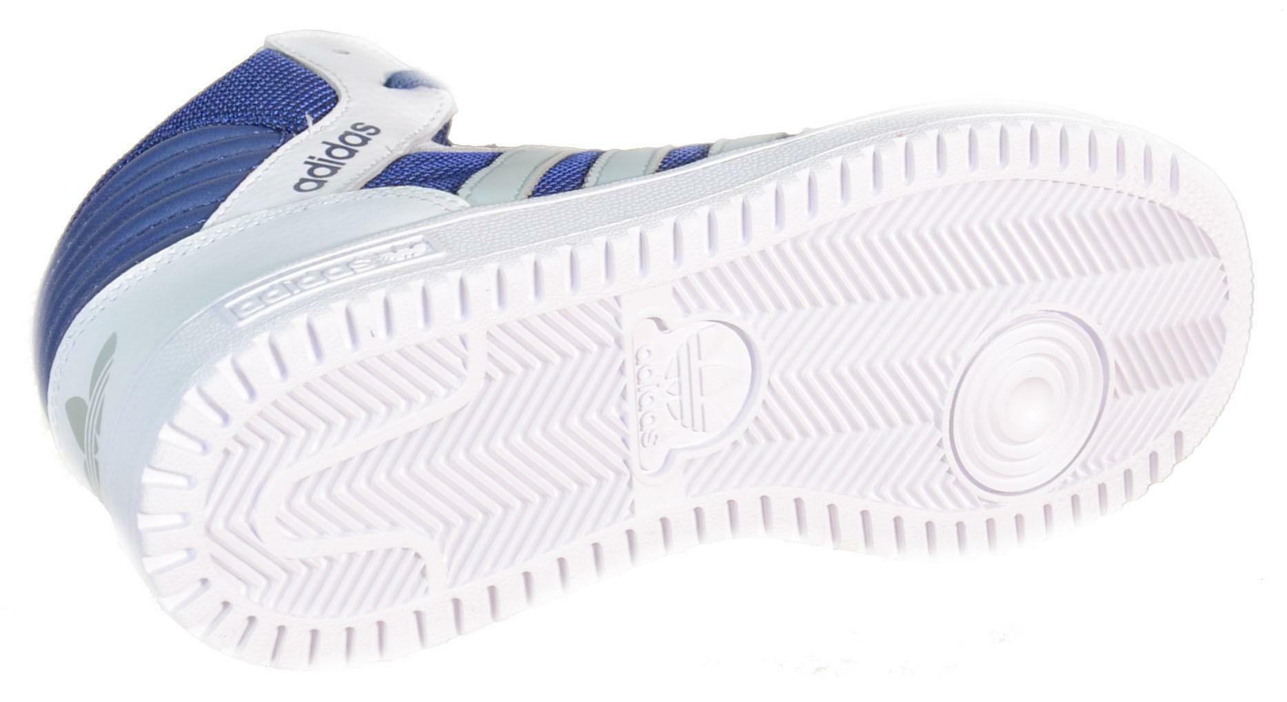 adidas adidas pro play k scarpe sportive bambino bianche blu pelle tela b25707