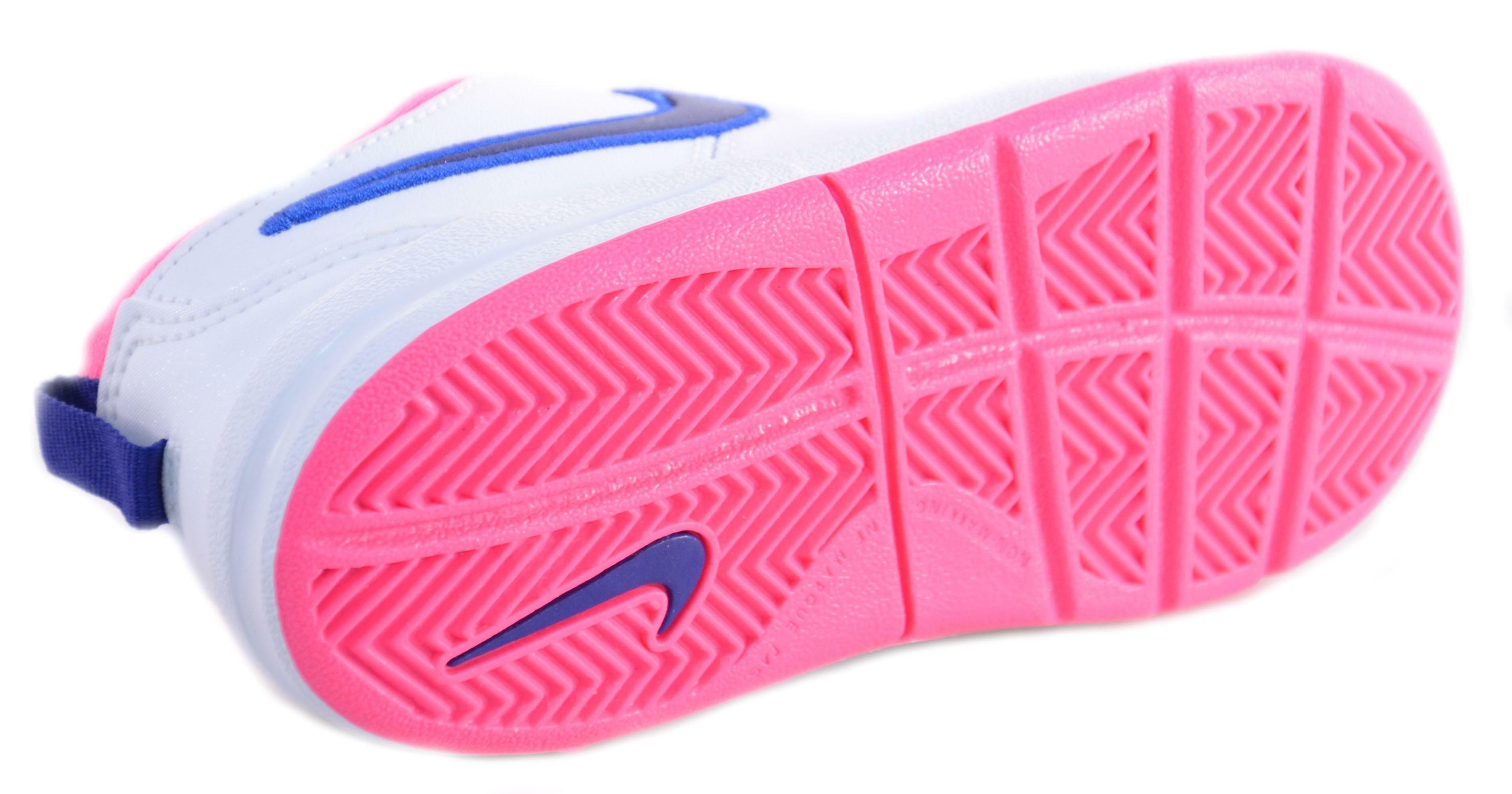Nike pico 4 (psv) scarpe bambina bianche blu rosa pelle velcro 454477