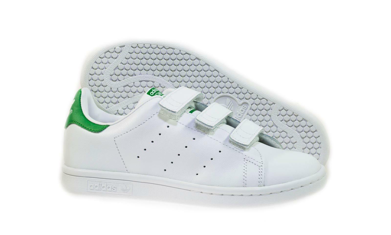 adidas adidas stan smith cf c scarpe bambino bianche pelle strappi m20607